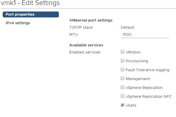 vSAN vmk configuration